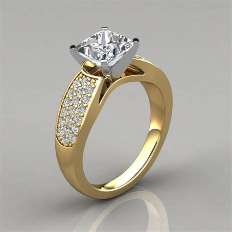 Wide Band Princess Cut Engagement Ring with Accents