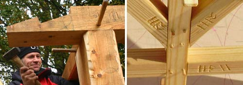 Pavilion wooden pegs and joint labelling