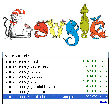 Dr. Seuss is extremely terrified of Chinese people