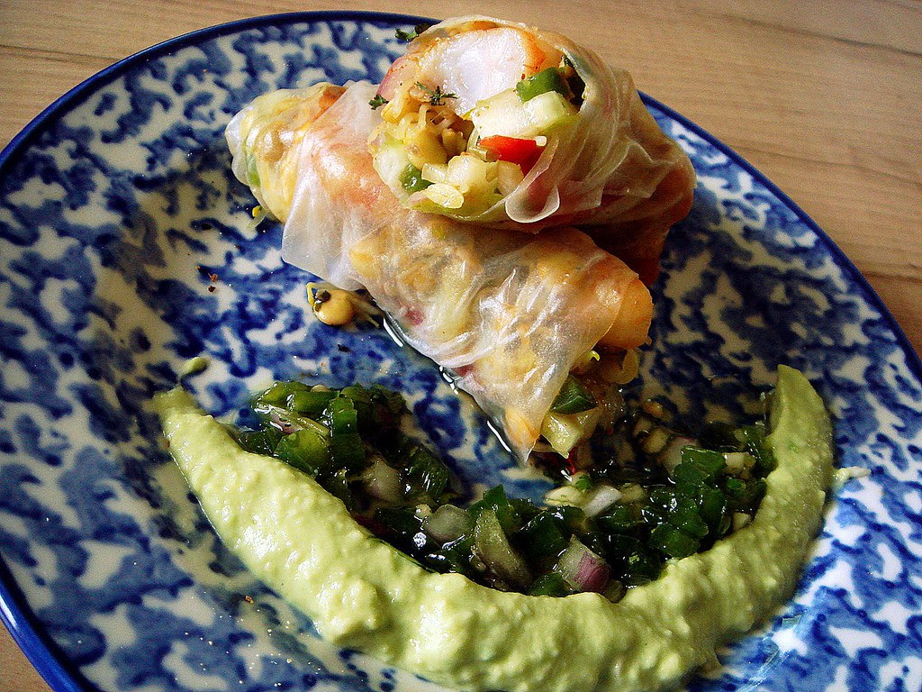 lentil sprout spring rolls with shrimp