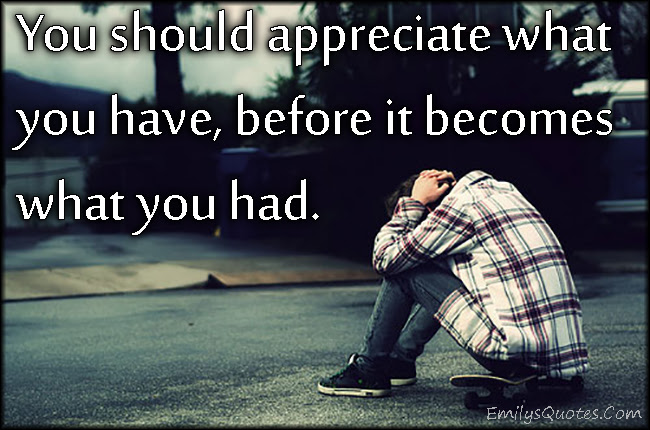 You Should Appreciate What You Have Before It Becomes What You Had
