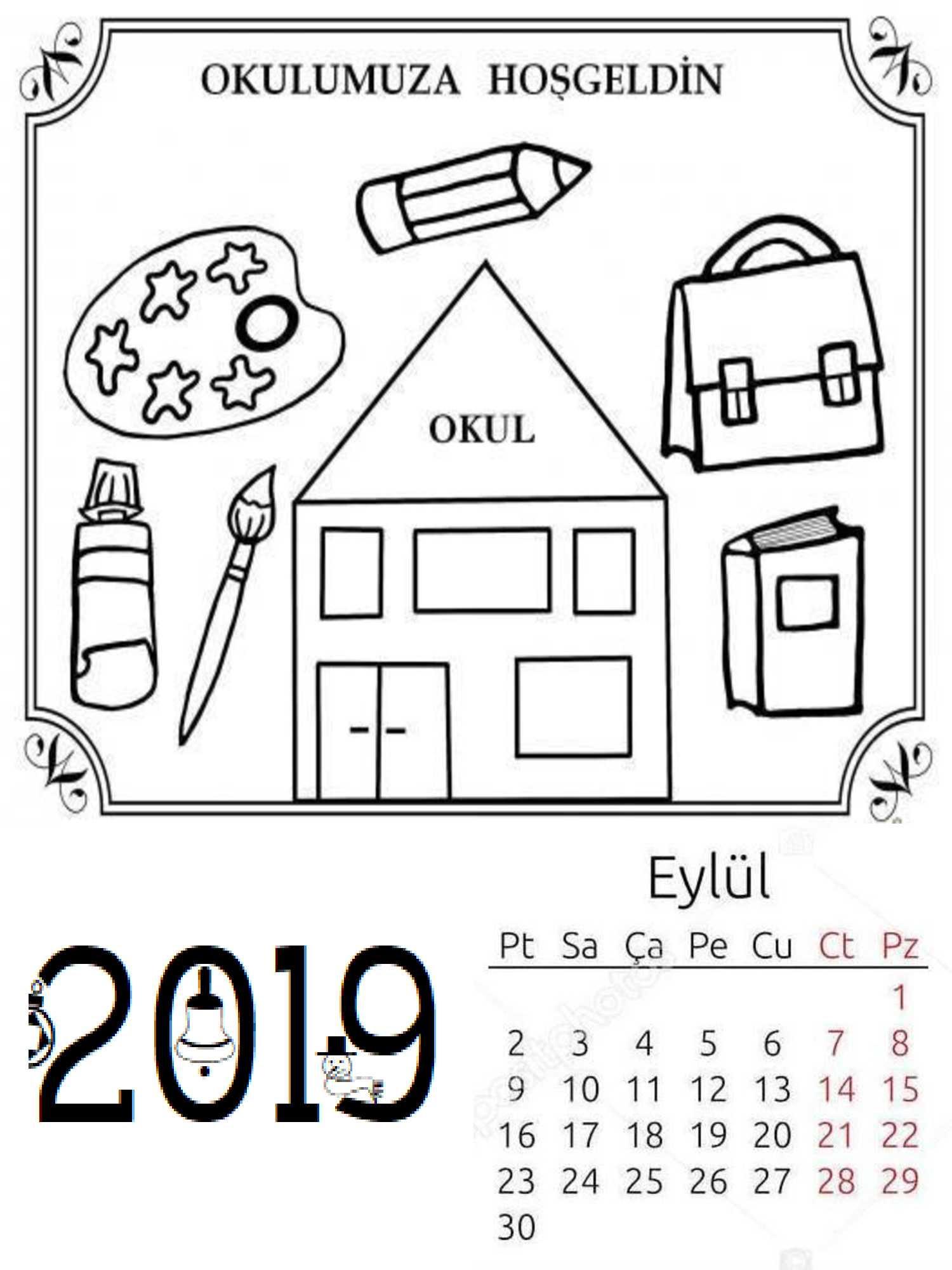 Okul Oncesi 2019 Boyama Sayfa Takvimi 1 Okul öncesi Etkinlik