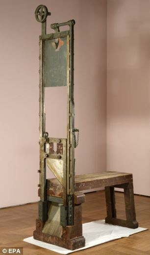 Killing machine: A guillotine used by the Nazis to execute opponents of the Third Reich has been found in the basement of a museum