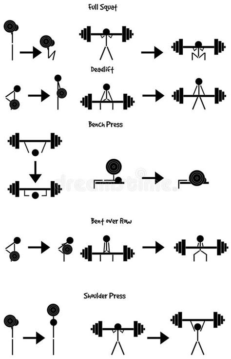Stickman Weight Training Icon Vector Set Stock Vector
