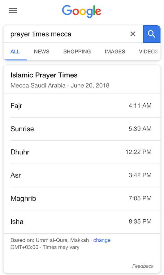 Google Launches Islamic Prayer Times Answers, Again