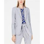 CALVIN KLEIN Womens Gray Printed Wear To Work Jacket Petites