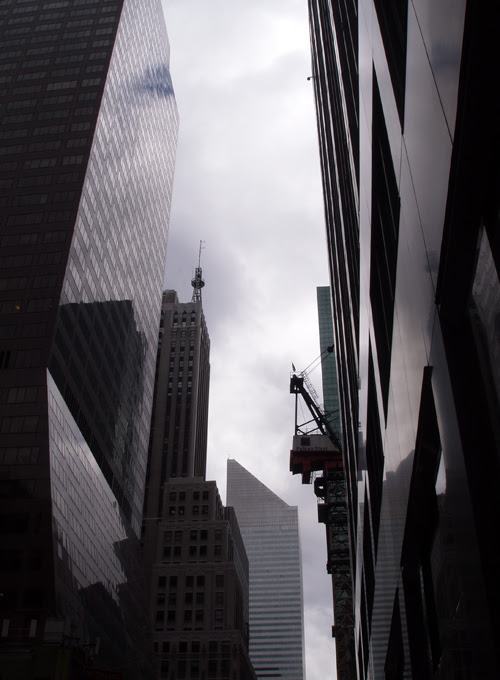 buildings and crane on 53rd Street, Manhattan, NYC