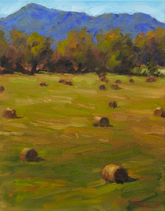 Old Howard Gap Haybales (2015) Oil painting by Richard  Nelson