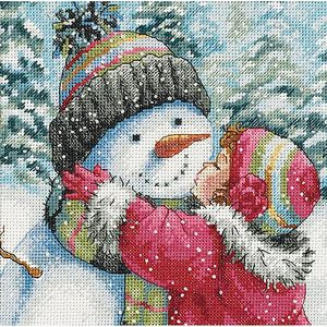 """Dimensions Gold Collection Petite """"A Kiss for a Snowman"""" Counted Cross Stitch Kit, 6"""" x 6"""""""