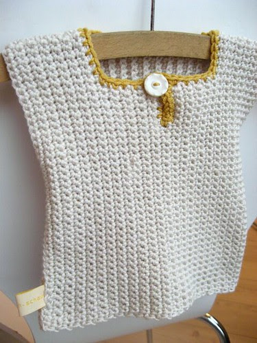 Soft crocheted baby vest