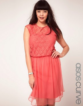 Image 1 ofASOS CURVE Exclusive Dress With Lace and Mesh