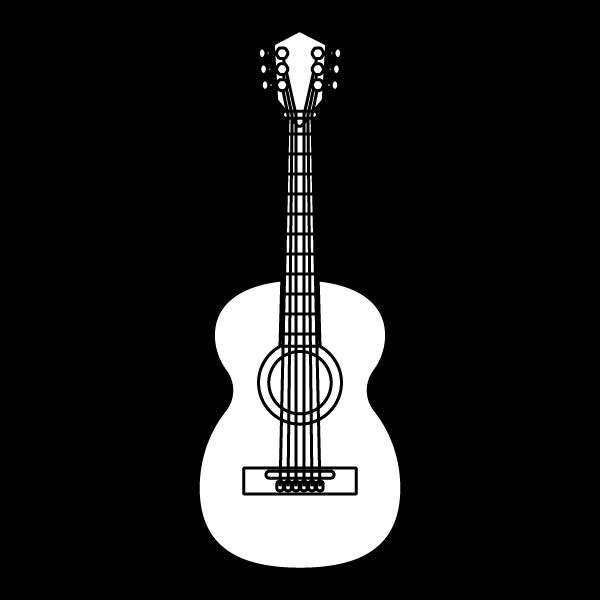 塗り絵に最適な白黒でかわいいアコースティックギターの無料イラスト