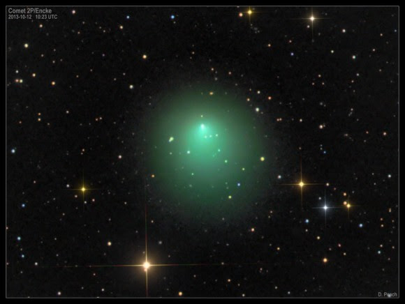 Comet 2P/Encke as imaged by Damian Peach on October 12th. (Credit: D. Peach)