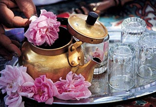 Rose water, product of the first round of distillation, can flavor tea if fresh roses are not at hand.