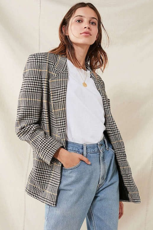 Plaid Blazer Jacket Fall 2017 Trend White Tee Vintage Jeans Denim Le Fashion Blog