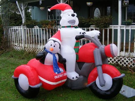 Details about Gemmy Polar Bear on Motorcycle w/ penguin in