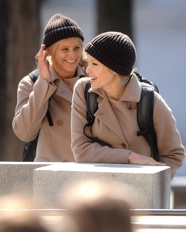 Angelina Jolie And Her Stunt Double Eunice Huthart On The Set Of Salt