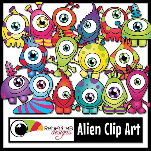 Monster Clipart Alien Clip Art Characters by RebeccaBDesignShop