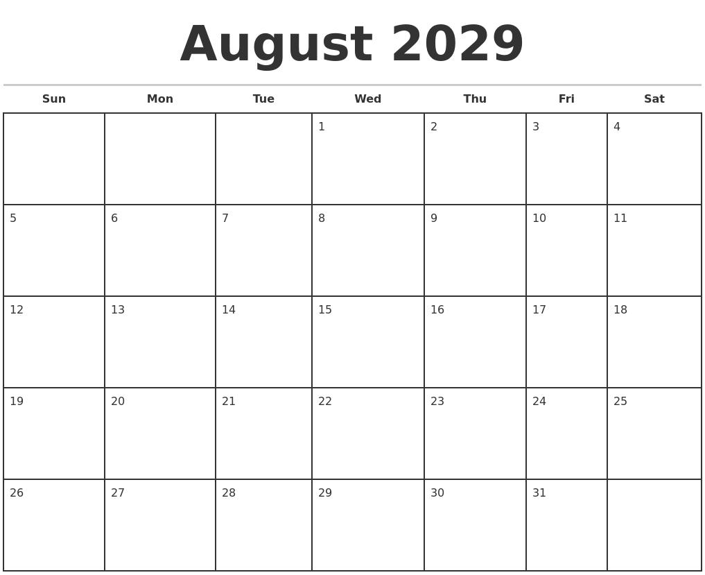 august 2029 monthly calendar template