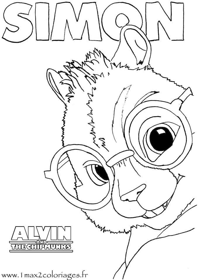 Coloriage Alvin Et Les Chipmunks Simon Des Chipmunks A Imprimer