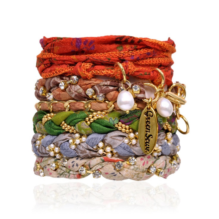 Stack of six vintage sari bracelets by GreenSewn