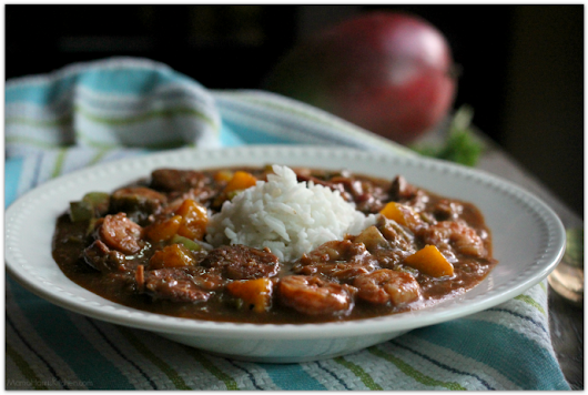 Shrimp, Chicken and Sausage Gumbo with Mango