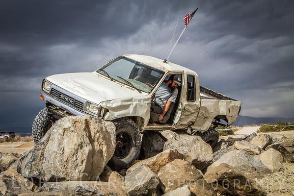White truck on obstacle course, 2016 Tierra del Sol Desert Safari