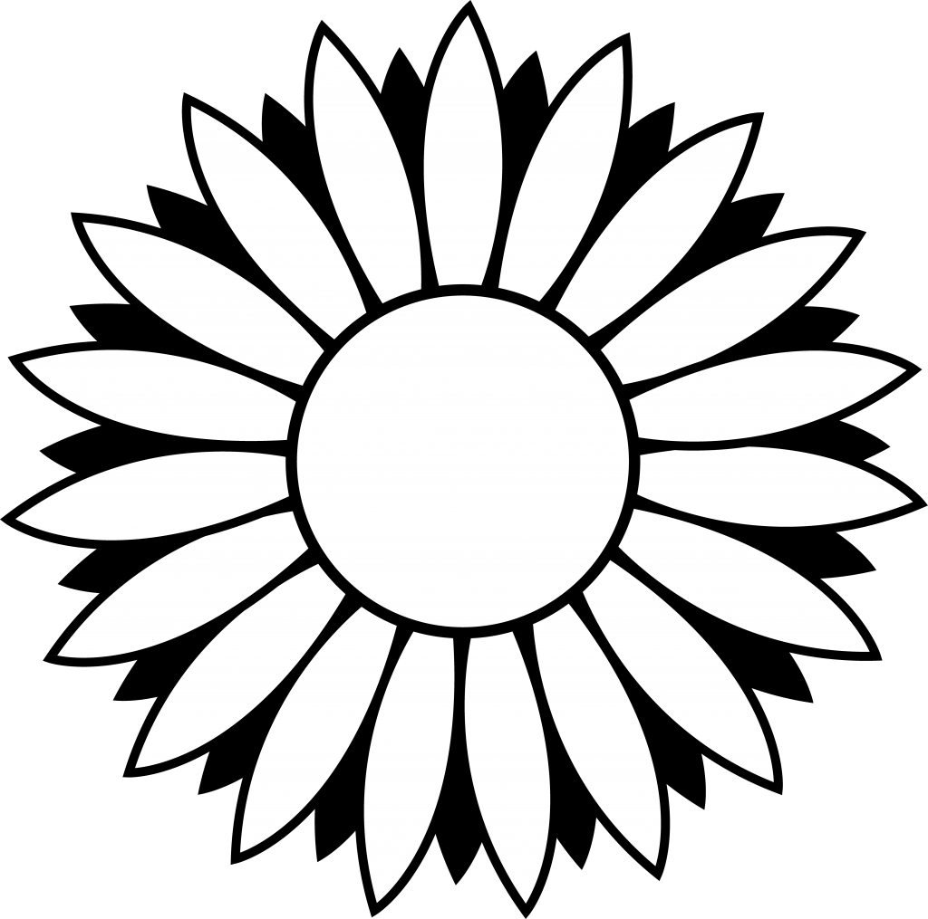 Sunflower Black And White Black And White Sunflower Clipart