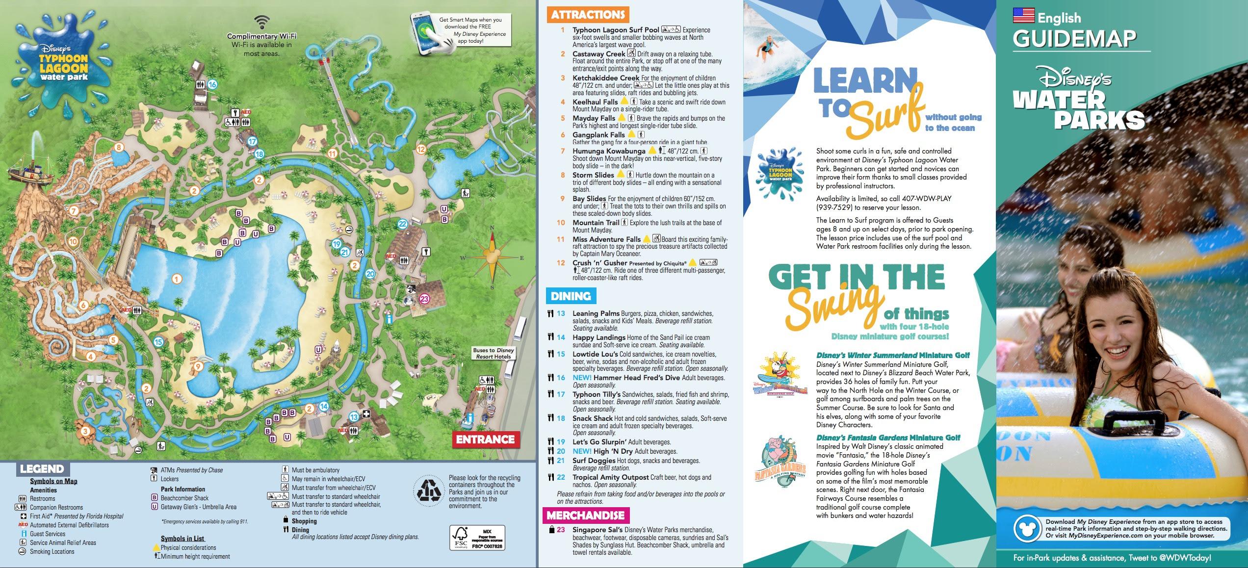 Disney's Typhoon Lagoon Water Park map