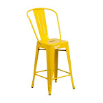Flash Furniture CH-31320-24GB-YL-GG 24 in. High Metal Indoor-Outdoor Counter Height Stool - Yellow