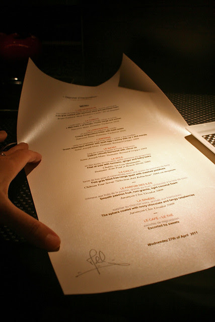 We were presented a menu personally autographed by Mr Robuchon - it was like unfolding a treasure map