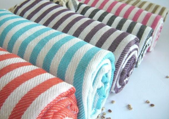 Premium Turkish Towel, Peshtemal, beach towel, hammam towel, bath towel, picnic towel, Spa Towel, Gray Striped