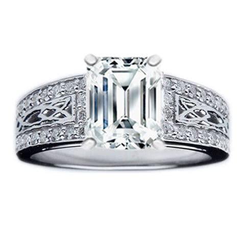 Engagement Ring   Emerald Diamond Celtic Knot Engagement