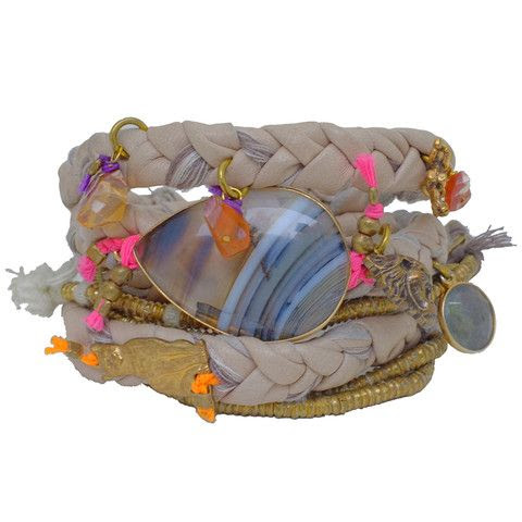 indian summer braided leather wrap bracelet