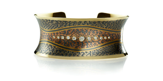 Wave Cuff with diamonds - 18k yellow gold with 14k gray & red gold and patinated fine silver pattern work, .55ctw diamonds. - George Sawyer