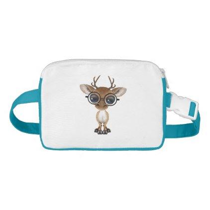 Nerdy Baby Deer Wearing Glasses Waist Bag