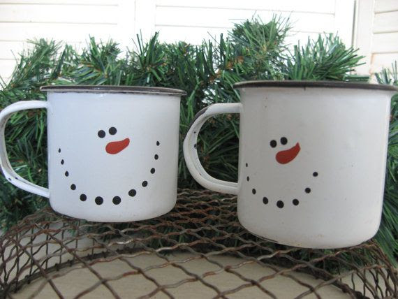 Snowman Mugs, Enamel Cup, Set of 2 Winter Mugs, Holiday Ornament, Winter Snowman Ornie, Snowmen Cups to fill for teacher gifts, hostess gift
