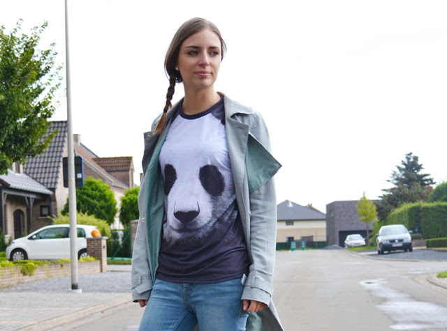 panda tee t shirt mr gugu miss go asos trench coat mac neon yellow vans inspiration outfit outfitpost turn it inside out fashion blogger belgium