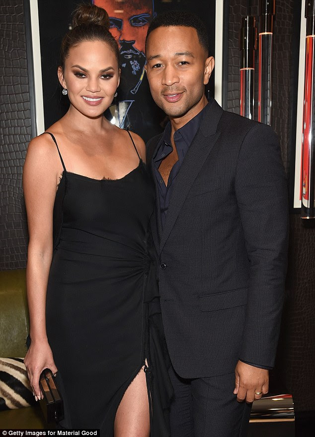 Lent their names: John Legend and Chrissy Teigen headlined the first anniversary party for 'mrarest objects' boutique Material Good in NYC