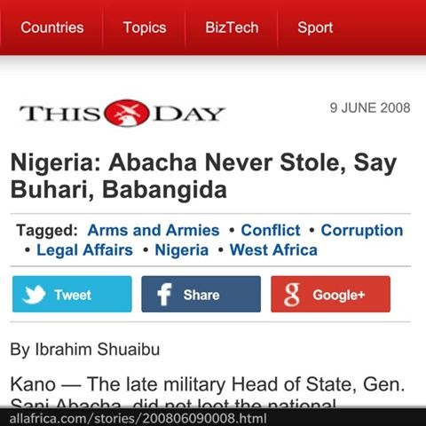 Abacha Never Stole, says Buhari