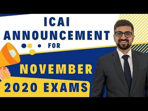 ICAI Announcement For November 2020 Exams | ICAI