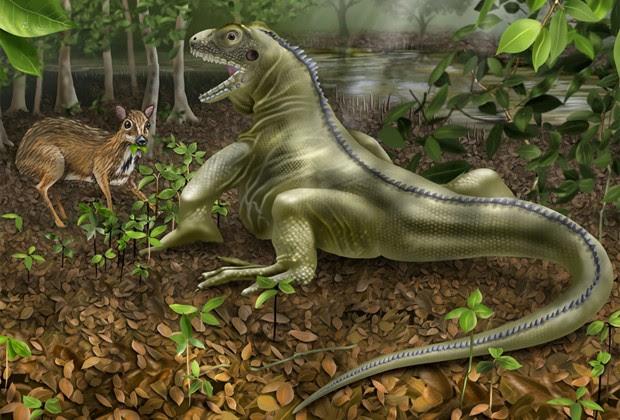 Concepção artística compara tamanho do lagarto gigante pré-histórico com mamífero (Foto: Divulgação/Angie Fox/Universidade de Nebraska-Lincoln)
