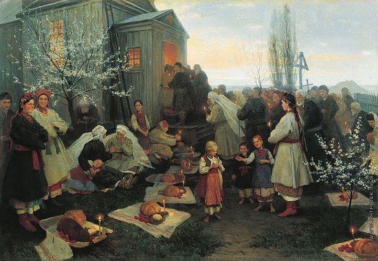 Н.К. Пимоненко. Пасхальная заутреня в Малороссии. 1891 г.