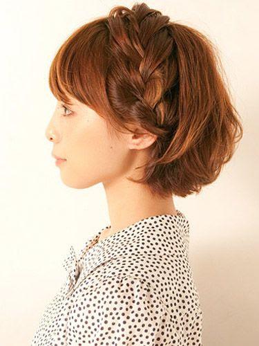 ミディアムボブ:編み込みツイストアップヘアアレンジ Twist