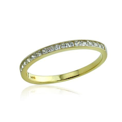 Women's Fine band 14K Gold CZ Channel Setting Half