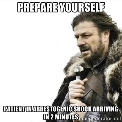 Prepare yourself.  Patient in arrestogenic shock arriving in 2 minutes humor meme photo.