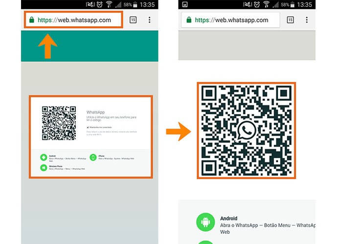 Aba o WhatsApp Web com QR Code no celular secundário (Foto: Reprodução/Barbara Mannara)