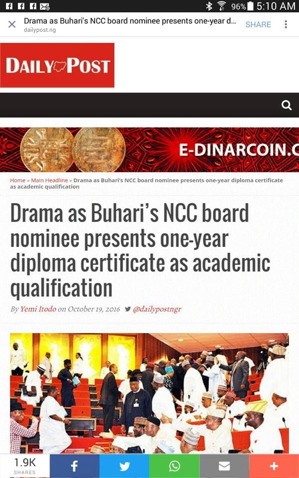 Drama As Buhari's NCC Board Nominee Presents One-Year