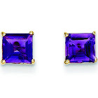14K Yellow Gold Polished Amethyst 5mm Square Post Earrings