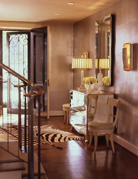 kydesigngal: Jan Showers  mirrored chest, crystal lamp, black & white zebra cowhide rug, beveled ...